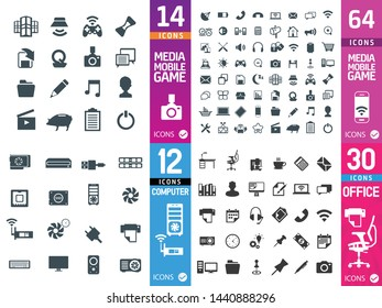 Large set of quality media icons