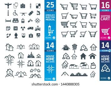 Large set of quality Medical , shop, house icons