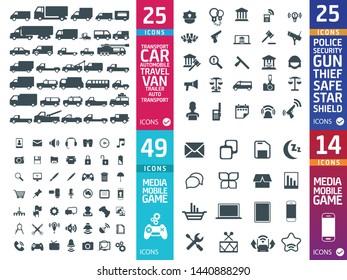 Large set of quality Transport, police, media icons