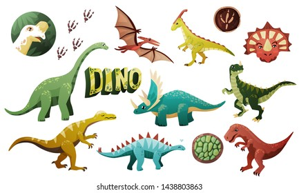 A large set of several dinosaurs, dinosaur footprints, the word DINO, drawn in one style, color, for the decoration of textiles, children's books. On a white background, isolated. Cute fossil animals