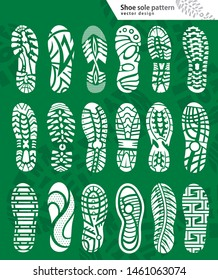 large set Shoe sole pattern  vector illustration