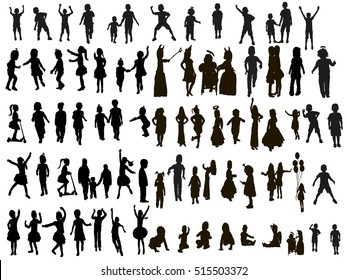 large set of silhouettes, children, vector