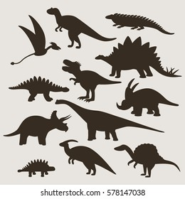 Large set of silhouettes of different dinosaurs. flat vector illustration isolate on a white background