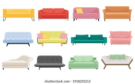 A large set of sofas. Furniture for the bedroom and living room. Vector in cartoon style. for sites. Modern interior design.