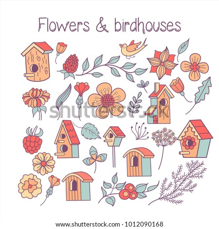 Large Set Spring Clipart Spring Flowers Stock Vector Royalty Free