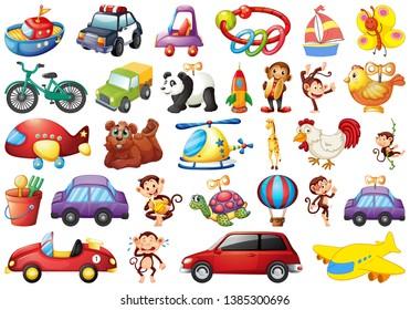 large set of toys illustration