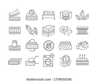 Large set of twenty line drawn Mattress icons in black and white showing the benefits of various mattress designs, black and white vector illustration