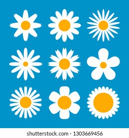 Large set of various white flowers in daisy style. Flower collection for different holiday decor. flat vector illustration isolated on blue background