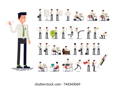 Large set of vector flat character design on businessman working and presenting process gestures, actions and poses. Office worker in tie and white shirt. Ideal for business or financial infographics