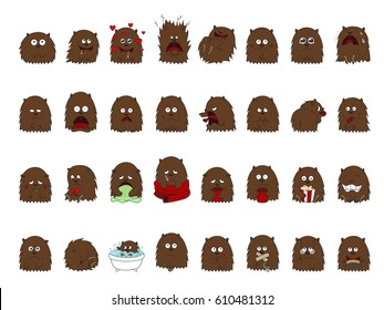 Large set vector illustrations isolated Emoji character cartoon creature (it can be a bear, a wolverine, or a large furry dog) stickers emoticons with different emotions