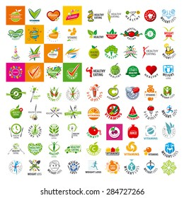 large set of vector logo of a healthy lifestyle