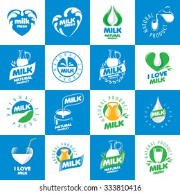 a large set of vector logos for natural dairy products