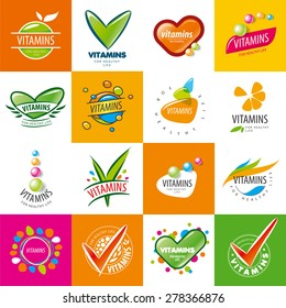 large set of vector logos vitamins