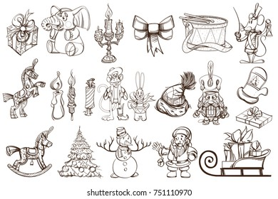 A large set of vector outline illustrations for Christmas and New Year's design.