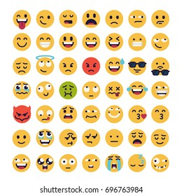 Large set of vector smileys, emoticons and emojis in minimalistic flat design. Funny and silly abstract facial expression icons collection