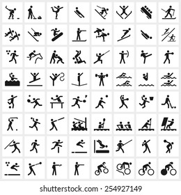 Large set of vector sports symbols including all the major winter and summer sports.