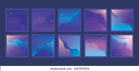 Large set of vibrant Universe backgrounds with small planets and stars