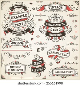 "Large set of vintage vector ornaments and ribbons. The fonts are called ""Arvo"", ""Bebas Neue"", ""Bitter"" and ""Cubano""."
