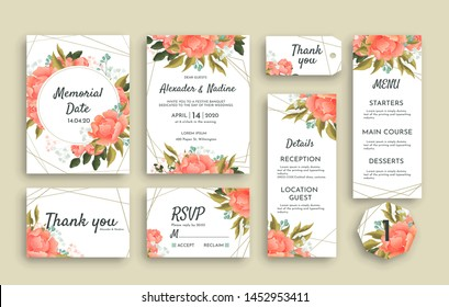 Large set of wedding stationery with pink roses including different cards. RSVP, Thank You, Menu, Reception details invitation and reminder notice