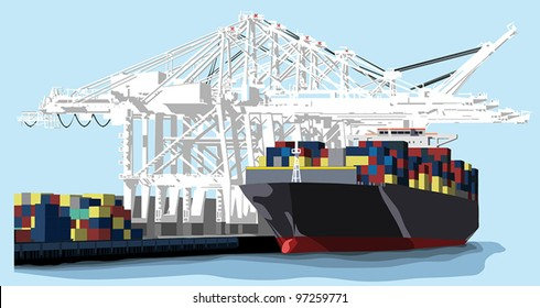 A large shipping barge at a port is loaded with various freight containers using white overhead cranes.
