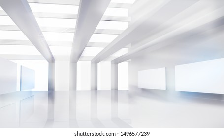 Large shopping mall, gallery. Empty hall for the expo. White background. Vector illustration.