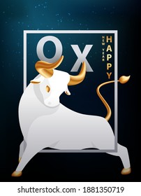 Large silver bull with golden horns, hooves and tail. Ox in the frame of the dark sky and the stars of the galaxy. Modern poster or cover with 2021 oriental new year symbol. Vector stock illustration.