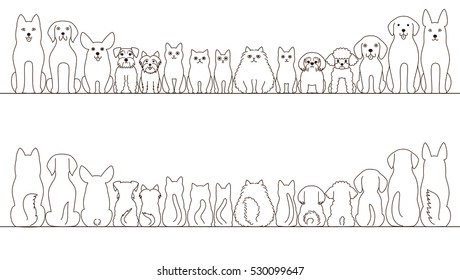 large and small dogs and cats banner set, front view and rear view, line art