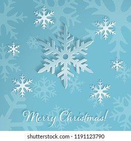 Large snowflakes on the light blue background with falling snow. Merry Christmas or New Year card. Elegant and minimal background with snowflake silhouettes. Vector Illustration.