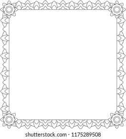 Large square frame lace. Coloring. Vector.