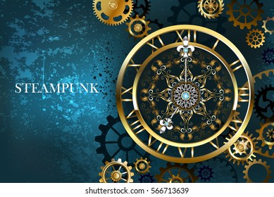Large steampunk antique gold watch with gold and bronze gears on turquoise background.