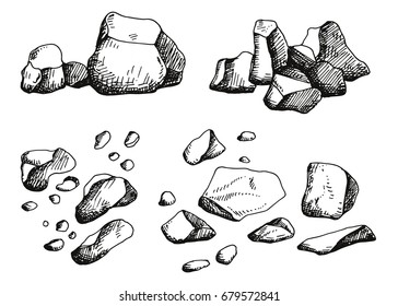 Large stones set. Hand drawing. vector