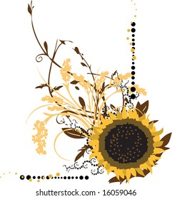 Large sunflower with ornate and intricate floral arabesques
