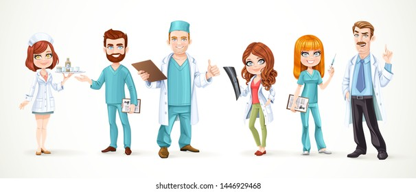 Large team of doctors in surgical suits and white coats isolated on white background. Doctor with a picture x-ray, a nurse with medicines, with a syringe, and with a history of the disease
