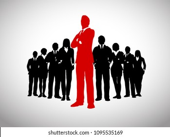 A large team of successful executives in silhouettes led by a great leader in red who stands in front of them.