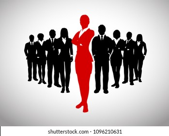 A large team of successful executives in silhouettes led by a great bold Female leader in red who stands in front of them.