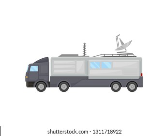 Large television production truck. Media car with satellite antennas on roof. Broadcasting vehicle. Flat vector design