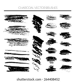 Large texture coal brushes vector set. charcoal vector brushes set. high quality textures