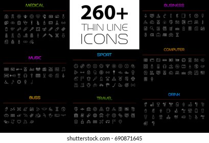 Large thin line icons set. Quality sign. Vector symbols.