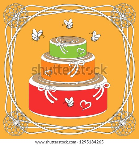 Large Three Tiered Birthday Cake With Decor And Flying Bees Nearby The Image Is