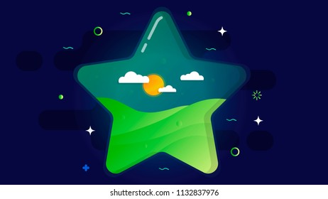 A large transparent star inside which is a green lawn, sun and clouds. On a dark cosmic background.