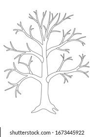 A large tree without leaves is a vector linear picture for coloring. A tree in winter or autumn without foliage with a trunk, branches and root. Outline. Hand drawing.