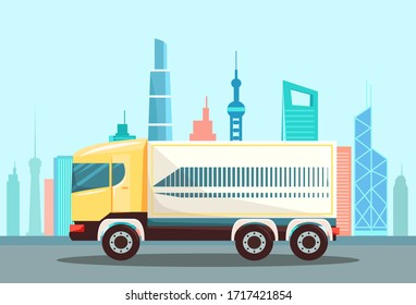 Large truck on urban asphalted highway, road. Vehicle to drive and deliver cargo to another place or town. Cityscape with skyscrapers on background, big city center. Vector illustration in flat style