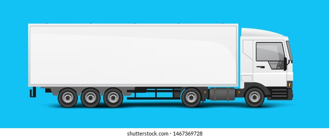 A large truck and trailer with room for branding and identity. Logistics vector illustration.
