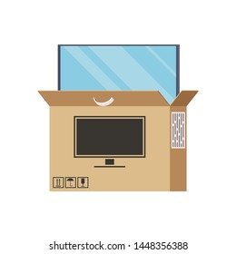 Large TV is Half Pulled Out of the Box. Computer Monitor, High Resolution.Unpack the Parcel from the Online Store. Purchase.