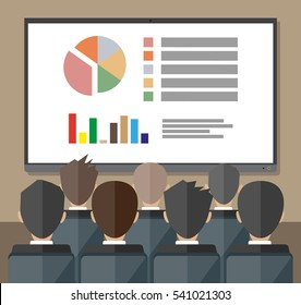 large tv screen with chart pie do presentation to other business people. Training staff, meeting, report, business school. vector illustration in flat style.