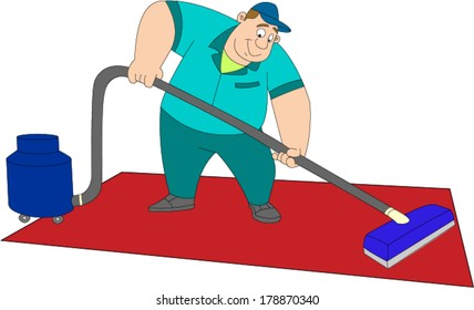 Large uniformed man using carpet cleaning machine