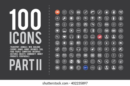 Large universal Icon set for web: transport, animals, web, building, science, games, hobby, business, tool, food, people