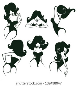 large vector collection of cartoon pin up girls in different poses