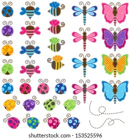 Large Vector Collection of Patchwork and Baby Shower Themed Bugs