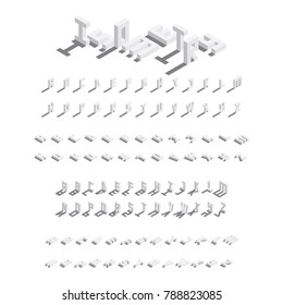 Large vector isometric bundle of english letters. Collection of font in various foreshortening with drop shadows
